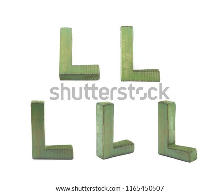 eb781f3fc8e9 Single sawn wooden L letter symbol in different angles and foreshortenings  isolated over the white background