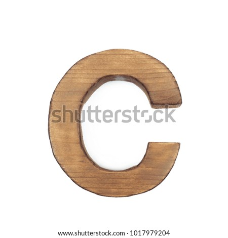 Single Sawn Wooden Letter C Symbol Coated With Paint Isolated Over
