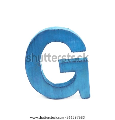 Single sawn wooden letter G symbol coated with paint isolated over the white background #566297683