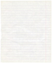 Single sheet of old grungy lined note paper background texture