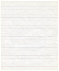 Single sheet of old grungy note paper background texture