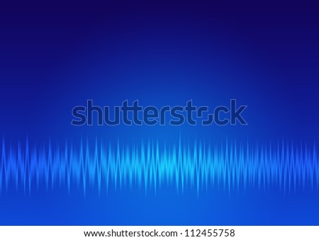 single signals, music wave, sound frequency background - blue