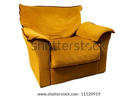 single sofa isolated on white background, front view - stock photo