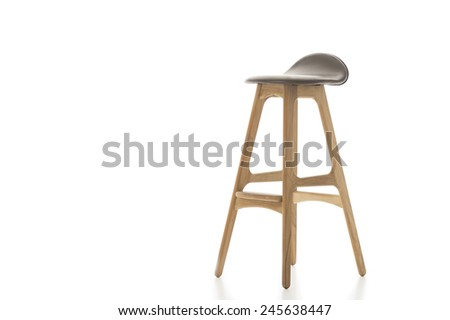 Single Tall Wooden Leg Stool Isolated on White Background. Emphasizing Copy Space. #245638447
