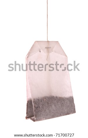 single tea bag on the white background