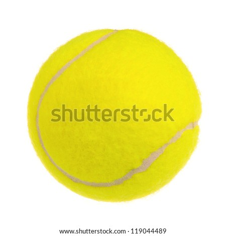 Single tennis ball isolated on white background