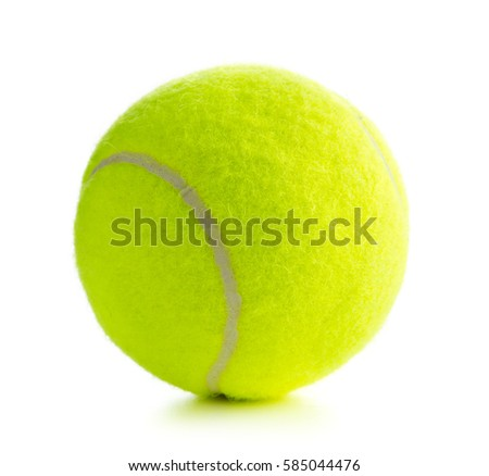 Single tennis ball isolated on white background. #585044476