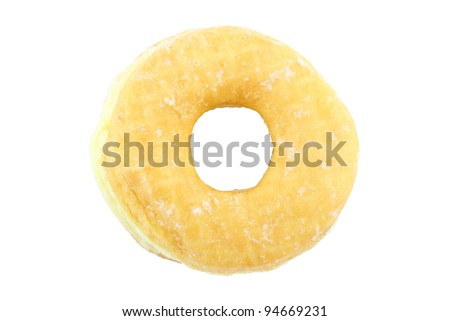 Single top view sugar donut on white background.
