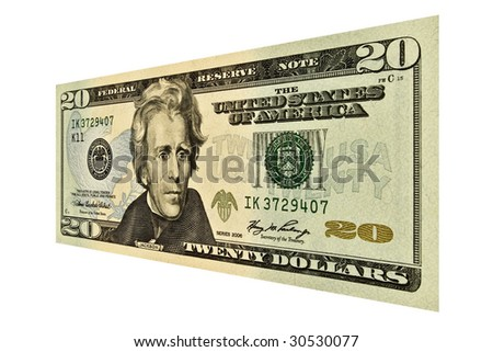 Single $20 USD bill isolated on white