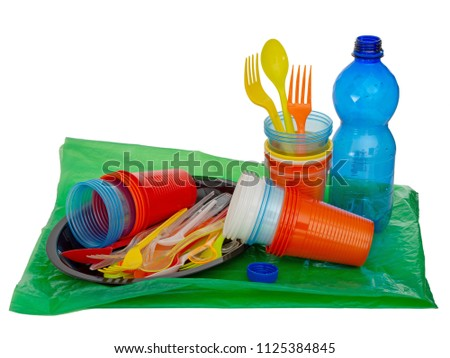 Single use, disposable plastic including cutlery, evironmental problem, EU directive. Isolated on white.