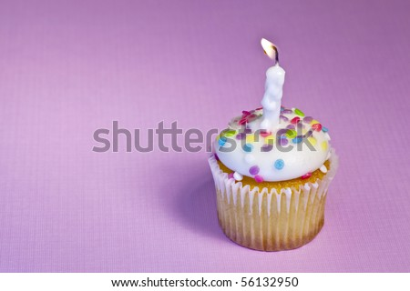 single vanilla cupcake with rainbow sprinkles, and a lit birthday candle on a pink background