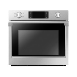 Single Wall Oven Isolated on White Background. Home Household Domestic and Kitchen Appliances. Front View of Stainless Steel Built-in Electric Pyrolytic Oven with a Large-Capacity Warming Drawer