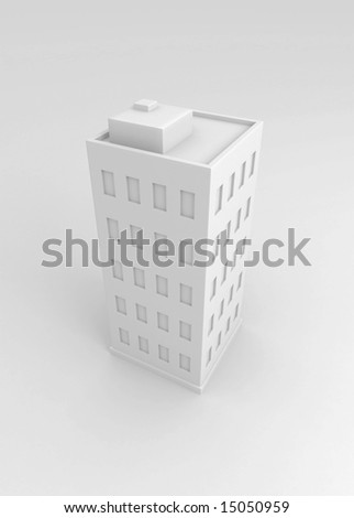 Single white city building, 3d, isolated