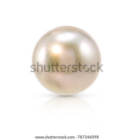 Single white natural oyster pearl with isolated on white background with drop shadow