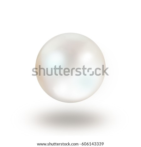 Single white natural oyster pearl with nacre mother of pearl outer isolated on white background with drop shadow