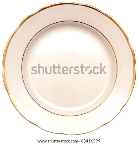 single white plate isolated on white background