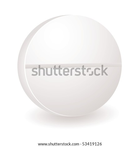 Single white round illustration of a pill or antibiotic - stock photo
