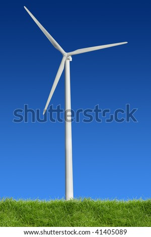 Single wind power standing in the spring time