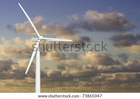 Single Wind Turbine Over Dramatic Blue Sky and Clouds.