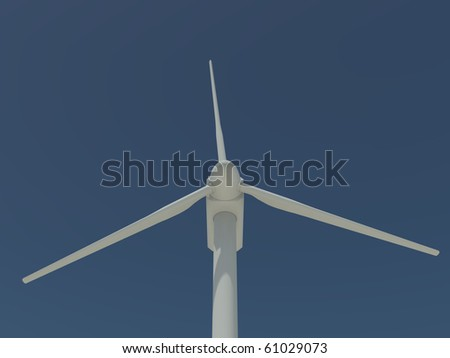 single windmill shown in close-up on a clear blue sky