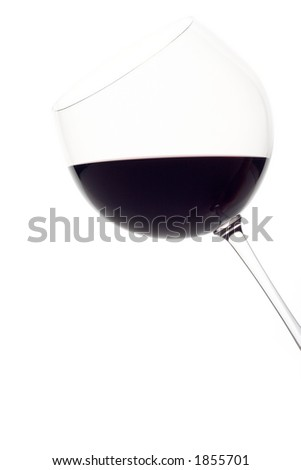 Single wine glass against white background