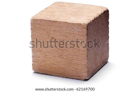 Single wooden cube on isolated on white background.