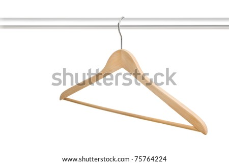 Single wooden empty hanger on rack isolated on white background