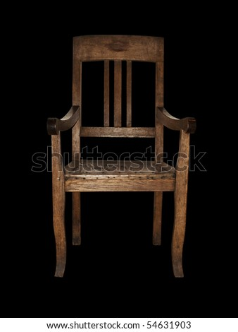 single wooden vintage chair over black background