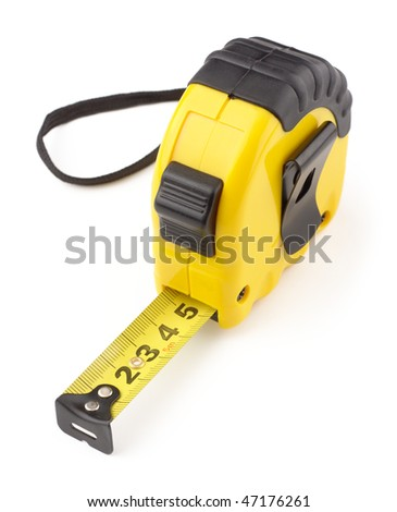 Single yellow and black tape measure, isolated over white