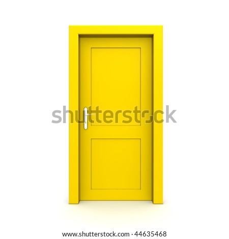 single yellow door closed - door frame only, no walls