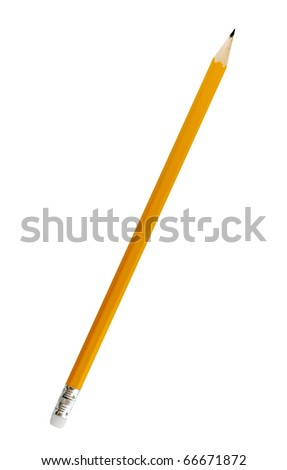 Single yellow pencil on white background