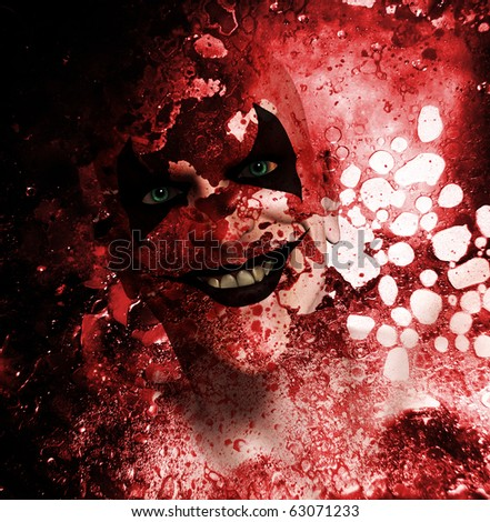 Sinister clown behind a bloodstained texture.