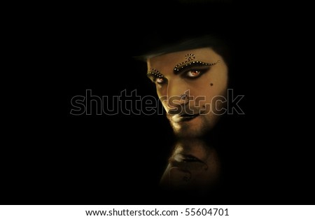 Sinister man with goth face paint against black reflective background