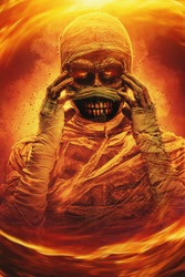 Sinister mummy with burning eyes, surrounded by flames. Halloween. Ancient Egyptian mythology.