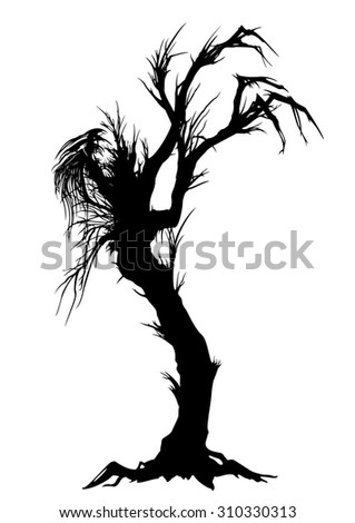 Sinister tree silhouette. Illustration a silhouette of a lone tree like a monster.