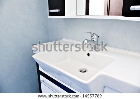 sink in blue bathroom