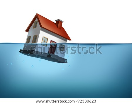 Sinking home and housing crisis with a house in the water on white showing the real estate housing concept of the challenges of home ownership and the business of mortgage rates payments.