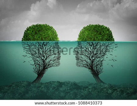 Sinking relationship and dying love concept as a couples therapy or marriage divorce and separation psychology concept with 3D illustration elements.