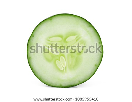 sinlge sliced cucumber isolated on white background