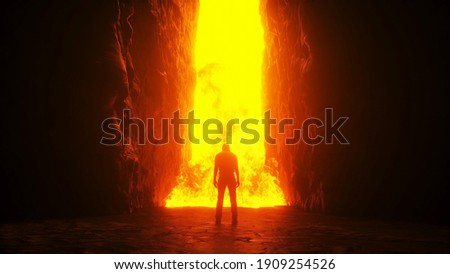 Sinner. A lonely sinfull man stands in front of a hell gates. Hell fire. Religious concept. 3d rendering. Stock photo ©