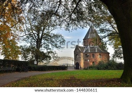 Sint-nicolaaschapel or Valkhofchapel in Nijmegen, Netherlands - built on the remainings of an roman palace chapel. Part of old Roman Ruins aged over 2000 years