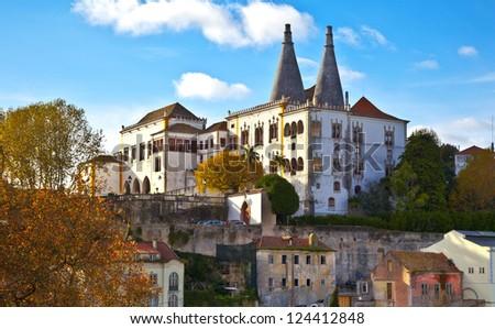 Sintra Palacio Nacional de Sintra. Portugal, Sintra. - stock photo