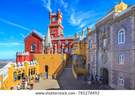 SINTRA, PORTUGAL - CIRCA OCTOBER, 2016:  The Pena Park with National Palace of Pena in Sintra, Portugal