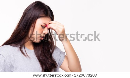 Sinus pain causing so painful headache. Illness woman get pain and sharp strong sore. She get sinus infection, sinusitis. Sickness woman holding her nose because of sinus pain. She get suffer so much