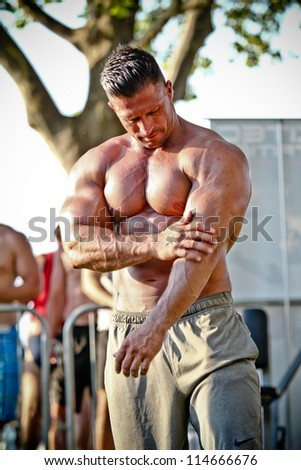 SIOFOK - AUG 4: Csuhai Janos participate in Scitec Muscle Beach bodybuilding seminar on August 4, 2012 in Siofok, Hungary
