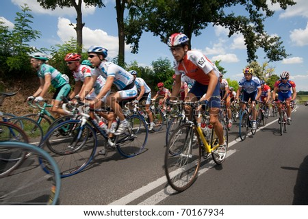 SIOFOK, HUNGARY - JULY 13 : Unidentified cyclists during an international cycle race on November 13, 2007 in Siofok, Hungary.