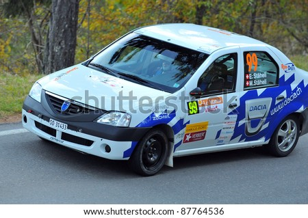 SION, SWITZERLAND - OCTOBER 30: Erich Staheli for Team Rallye Top in a Dacia Logan in the International Rally of the Valais : October 30, 2011 in Sion Switzerland