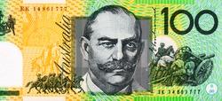 Sir John Monash Portrait from Australia 100 Dollars Polymer Banknotes. Australia money, Australian banknote. Closeup Collection