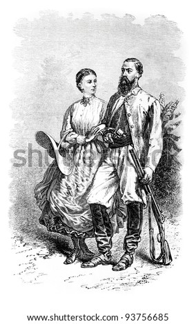Sir Samuel White Baker and his wife, old engraved portrait (British explorer). Created by Neuville, published on Travel to upper reaches of the Nile and exploration of its sources, Moscow, 1868