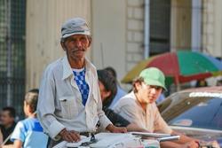 Sir selling ice cream, captured 2008, Santa Ana,  El Salvador.